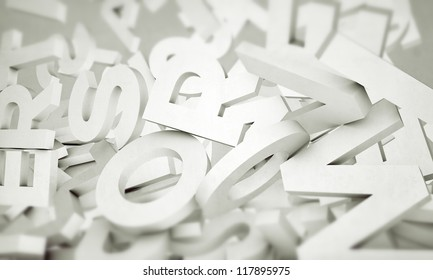 white letters isolated on white background