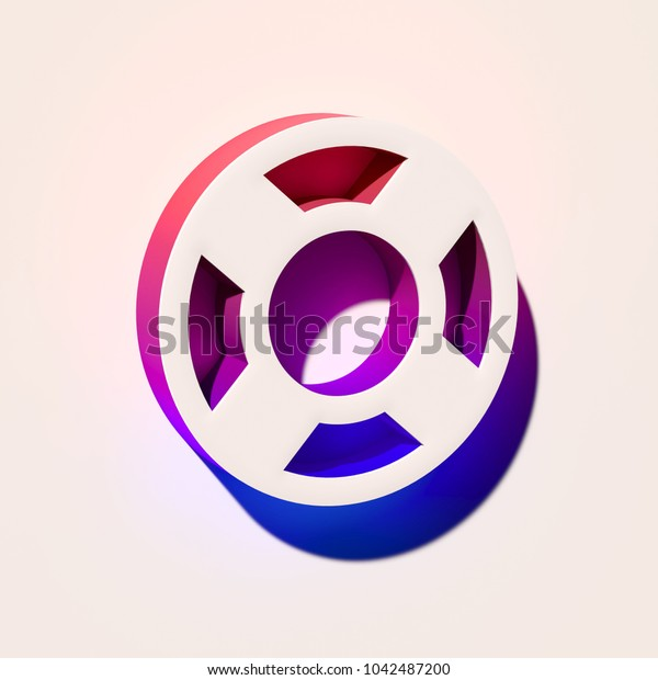 White Life Ring Icon. 3D Illustration of White Floatation Device, Guardar, Life Buoy, Life Ring, Life Save Icons With Pink and Blue Gradient Shadows.