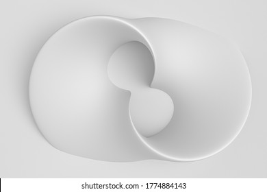 White light delicate abstract 3D background of a wave curving intertwining and writhing surface. 3D illustration on a white background with copy space