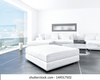 White light living room interior with seascape beach view