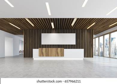 White and light wooden reception counter is standing in a light colored office lobby with wooden decoration elements. Long horizontal poster. Panoramic window. Empty hall. 3d rendering, mock up
