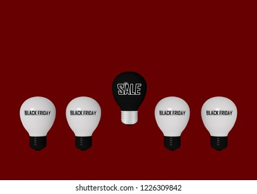 """white lightbulbs with the text """"Black Friday"""" and a black lightbulb with the text """"Sale"""" on a red background. 3d rendering"""