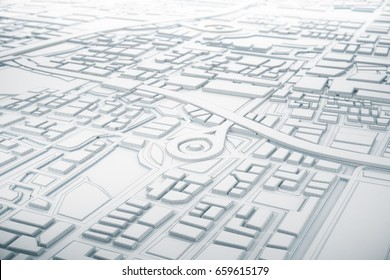 White and line 3D Map of City with navigator pin locator . Navigation, location route, travel and tourism planning concept. 3D illustration.