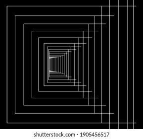 White lines on black background. Stylized ladder drawing.