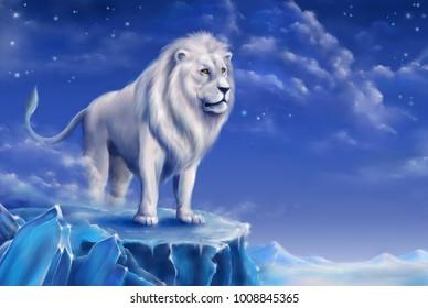 White lion digital illustration. Digital drawing of lion.