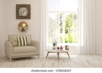 White living room with armchair and green landscape in window. Scandinavian interior design. 3D illustration
