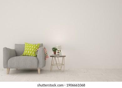 White living room with armchair. Scandinavian interior design. 3D illustration