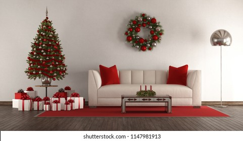White living room with Christmas tree,gift and elegant sofa - 3d rendering