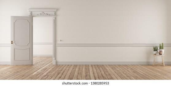 White living room in classic style with open door and hardwood floor - 3d rendering