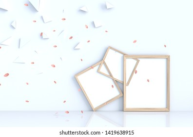 White living room decor with picture frame and blow pink leaves, traingle. 3d render. For valentine day and love day.