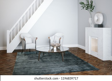 White living room with fireplace and stairs 3d render