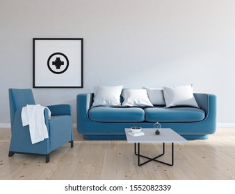 White living room interior with blue velveteen furniture, sunlight on a wooden floor, large wall, white landscape in window. Home nordic interior. 3D illustration