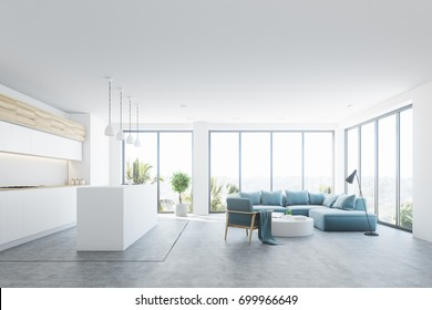 White living room interior with a blue sofa, an armchair and a small round table. Panoramic windows, a bar stand. 3d rendering mock up