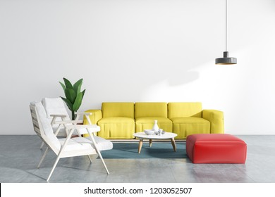 White living room interior with concrete floor, yellow sofa, white and red armchairs, and a coffee table. 3d rendering