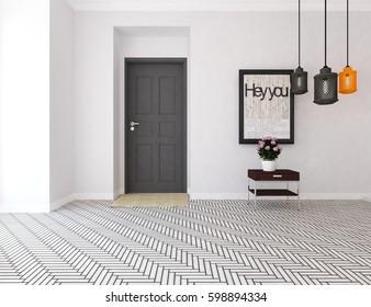 white living room interior with door and white landscape in window. Scandinavian interior design. 3D illustration