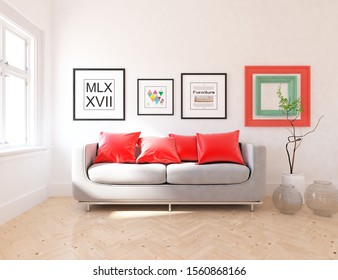 White living room interior with sofa, sunlight on a wooden floor, frames on a large wall, white landscape in window. Home nordic interior. 3D illustration