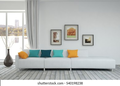 White living room interior with sofa and urban landscape in window. Scandinavian home design. 3D illustration