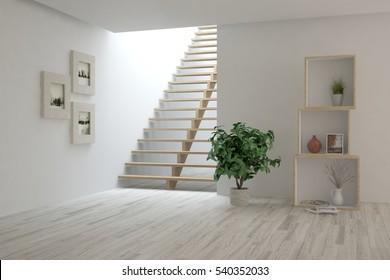 White living room interior with stair. Scandinavian home design. 3D illustration