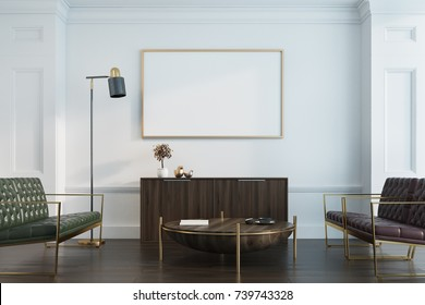 White living room interior with a wooden floor, leather sofas, a chest of drawers and a round coffee table. A horizontal poster. 3d rendering mock up