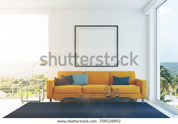 White Living Room Interior Yellow Sofa Stock Illustration 708528892