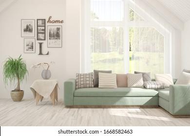 Salón blanco con sofá. Diseño interior escandinavo. Ilustración 3D
