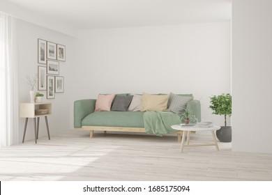 Salon blanc avec canapé. La décoration scandinave. Illustration 3D