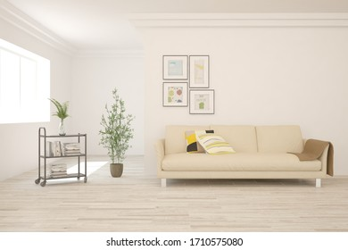 White living room with sofa. Scandinavian interior design. 3D illustration