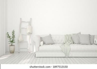 Weißes Wohnzimmer mit Sofa. Skandinavisches Innendesign. 3D-Illustration