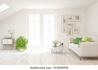 White living room with sofa. Scandinavian interior design. 3D illustration