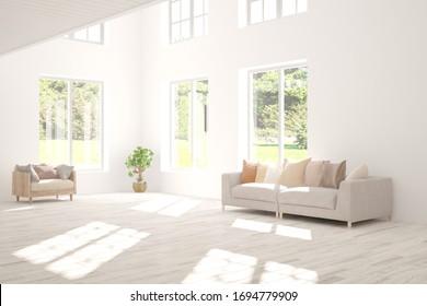 Weißes Wohnzimmer mit Sofa und Sommerlandschaft im Fenster. Skandinavisches Innendesign. 3D-Illustration