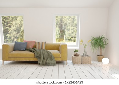 White living room with sofa and summer landscape in window. Scandinavian interior design. 3D illustration