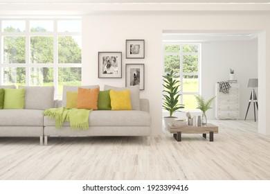 Salón blanco con sofá y paisaje de verano en la ventana. Diseño interior escandinavo. ilustración 3D