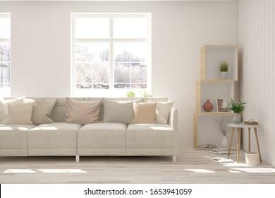Salón blanco con sofá y paisaje invernal en ventana. Diseño interior escandinavo. Ilustración 3D