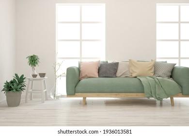 Salón blanco con sofá verde suave. Diseño interior escandinavo. ilustración 3D