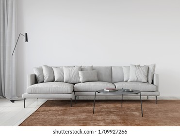 White living room with soft sofa metal table and terracotta carpet / 3D illustration, 3d render