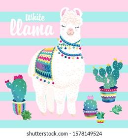 white llama, cacti on a striped background