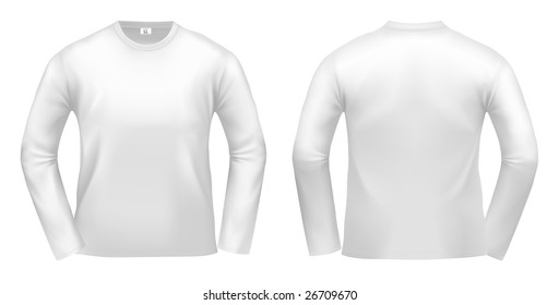 White long-sleeved T-shirt design template (clipping path).