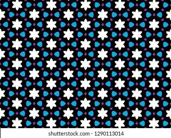 White lotus flower kaleidoscope pattern on black blackground.
