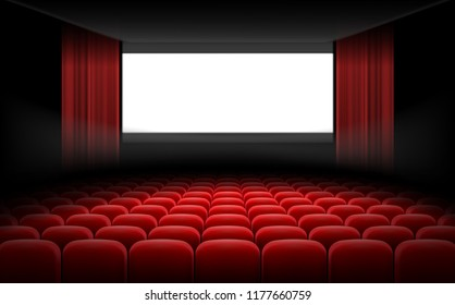 White luminous cinema movie theatre screen with red curtains and rows of chairs, realistic illustration, background. Concept movie premiere, poster with interior of a cinema and space for text