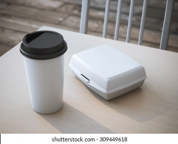 White lunch box with paper cup of coffee. 3d rendering