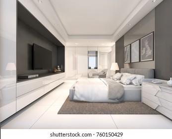 White Luxury Bedroom , 3d Rendering