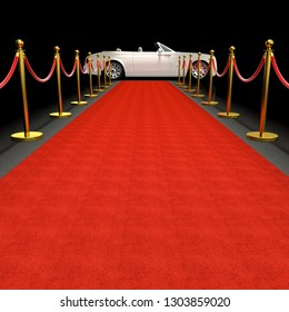 white luxury car and red carpet 3d rendering image