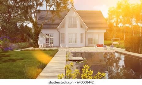 White luxury house with pond in garden in summer (3D Rendering)