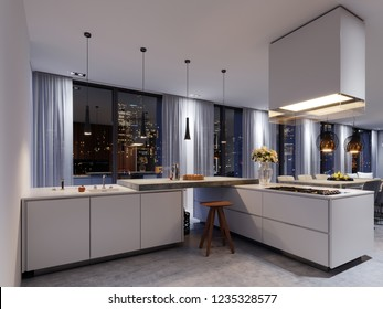 White luxury kitchen in contemporary house. 3d rendering