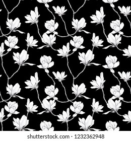 white Magnolia flowers drawn black pencil  in vintage style on seamless black background, Wallpaper, textiles, wrapping paper