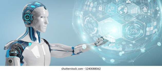 White male cyborg on blurred background using digital chart interface 3D rendering