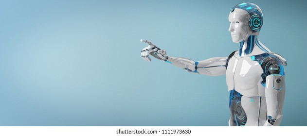 White male cyborg pointing his finger isolated on blue background 3D rendering
