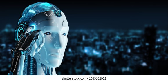 White male cyborg thinking and touching his head on spaceship background 3D rendering