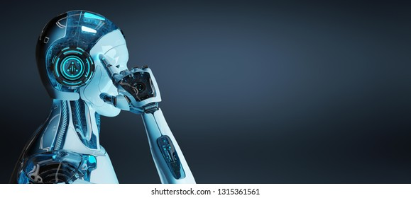 White male cyborg thinking and touching his headon dark blue background 3D rendering