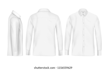White male shirt with long sleeves and buttons in front, back and side view, isolated on a gray background. pattern formal or casual shirt